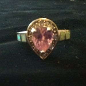 Ring .925 Pink topaz with White Fire Opal